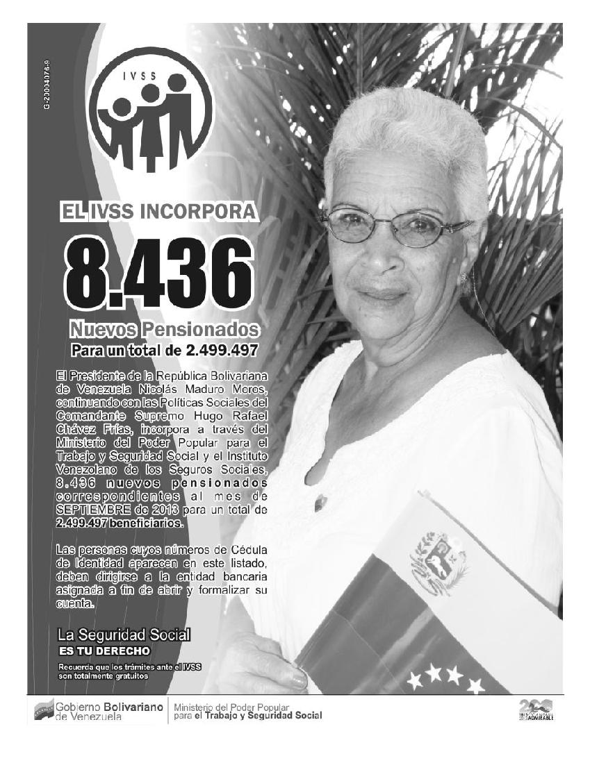 MinCI | 8.436 Nuevos pensionados (Lista del IVSS de agosto 2013 para