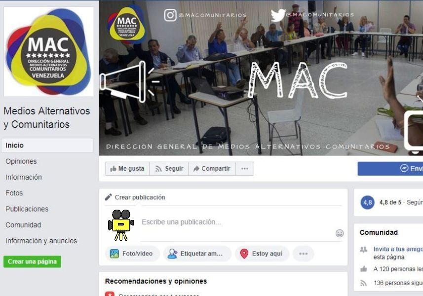 Facebook Fan page de la Dirección General de Medios Alternativos y Comunitarios del MippCI