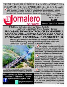 Portada El Jornalero de Caracas Nº 151